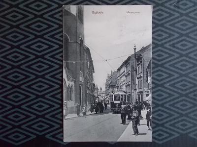 České Budějovice Budweis Vídenská ulice tramvaj lidé