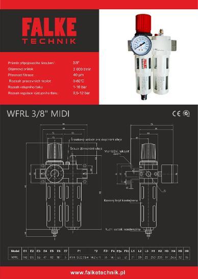 Jednotka pro úpravu stlačeného vzduchu FALKE WFRL midi–šroubení 3/8'' - Průmysl