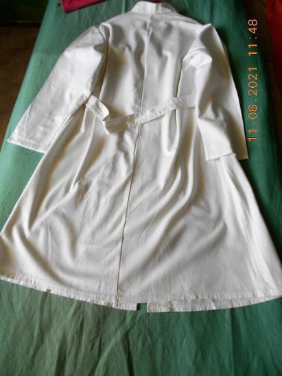 Retro pracovní dlouhý bílý plášť /kvalitní pevné plátno nebo len/ - Starožitnosti