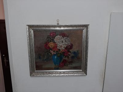 obraz olejomalba růže ve váze