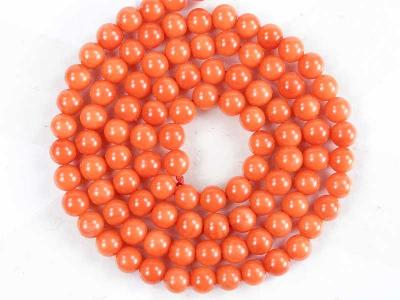 Korál oranžový, kuličky 4mm, SADA 5 ks, korálky Ko34-4
