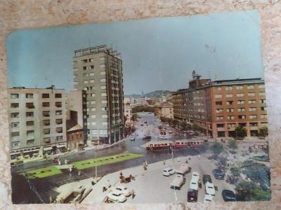 Pohlednice Slovensko Bratislava Stalinovo náměstí tramvaj automobily