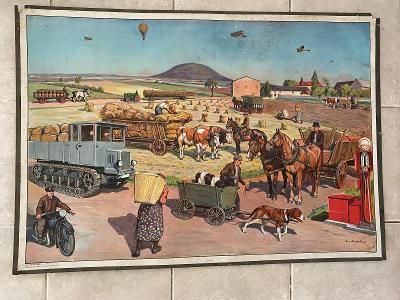 Školní plakát Traktor, zemědělská technika na poli, Andrýsek 1932