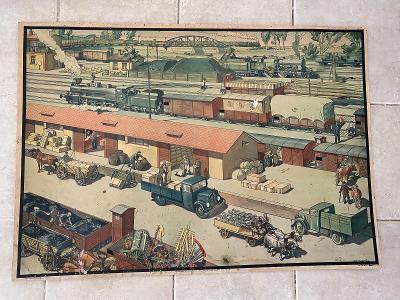Školní plakát Parní lokomotiva, Železniční stanice, Antonín Pospíšil