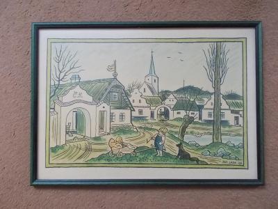 Originální zinkografie obraz Josef Lada malíř Na návsí 1965 rám sklo