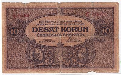 10 Kč 1919 vzácnější státovka - série O 106 !