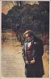 Muž * večerní krajina, báseň, umělecká, sign. Rélink * M1483