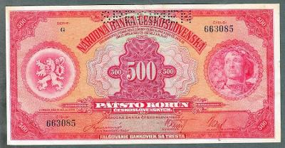 500 korun 1929 serie G perf.