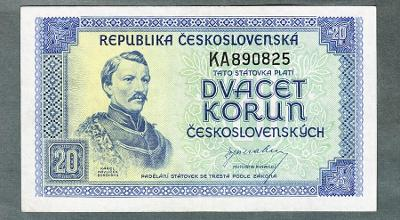 20 kčs 1945 serie KA NEPERFOROVANA stav 0