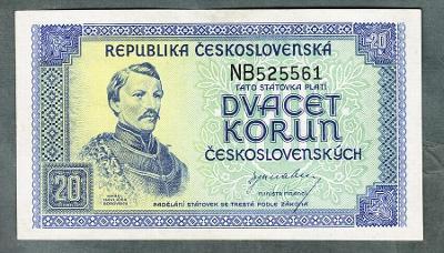 20 kčs 1945 serie NB NEPERFOROVANA stav 0