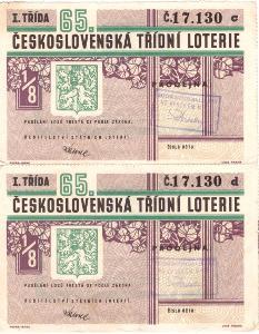 Třídní loterie 65 různé serie  2x v celku