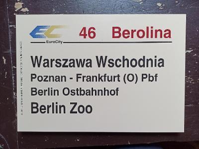 Směrová cedule DB - EC 46 BEROLINA
