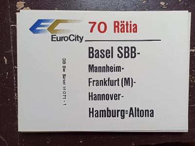 Směrová cedule DB - EC 70/71 RÄTIA