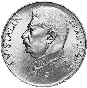 Stříbrná mince 100 Kčs J. V. Stalin 1949, perfektní stav, Ag 14 g