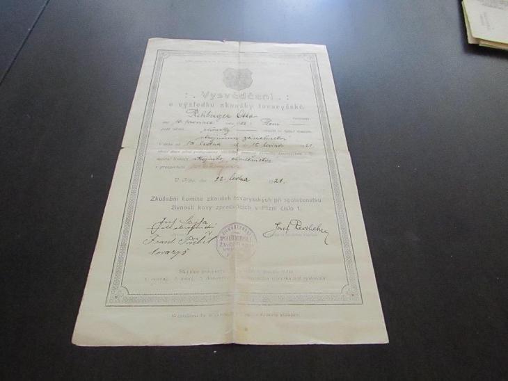 Staré dokumenty Vysvědčení 1921 - Antikvariát
