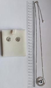 Stříbrné náušnice + ocelový náhrdelník s krystaly Swarovski (A-KQ6498)