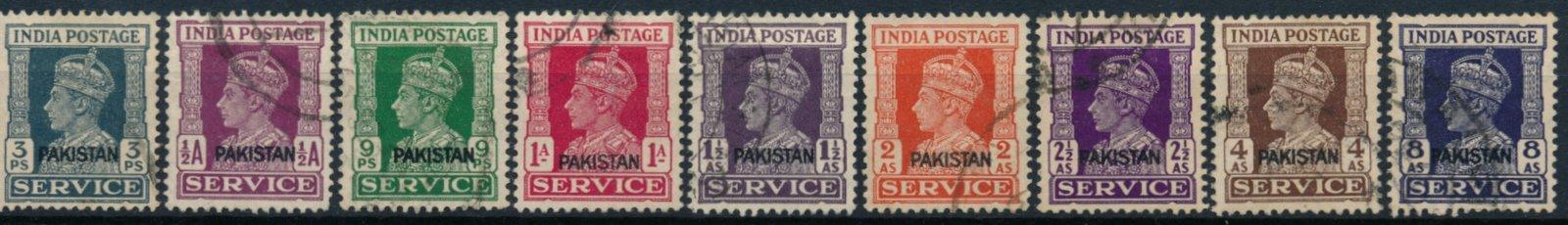Pákistán 1947 , ʘ/Mi. 1-10 , chybí Mi.5 , služební , Jiří VI. , /L22/
