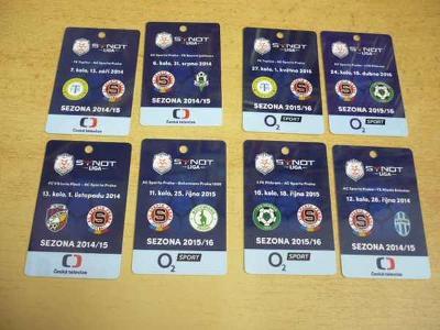 Akreditační karty z fotbalových zápasů SPARTA (8 ks) 2014-2016
