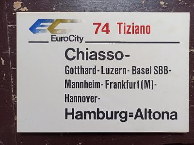 Směrová cedule DB - EC 74/75 TIZIANO