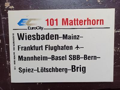 Směrová cedule DB - EC 101 MATTERHORN