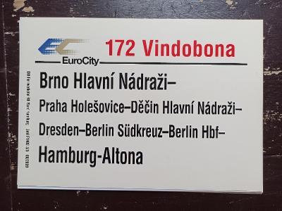 Směrová cedule DB - EC 172 VINDOBONA