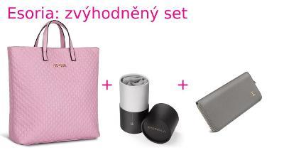 Výhodný set Esoria: kabelka Almira Pink, šátek High Society + pěněženk