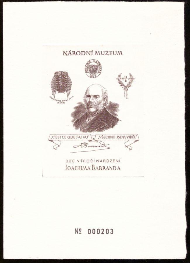 ČR - ČÍSLOVANÝ TISK JOACHIM BARRANDE, NÁRODNÍ MUZEUM (S2362) - Filatelie