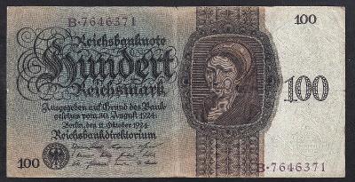 VZÁCNÁ 100 REICHSMARK 1924 - ZACHOVALÁ