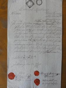 Quittung s originálními pečetěmi  z roku 1812