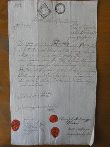 Quittung s originálními pečetěmi z roku 1812 (č.5733)