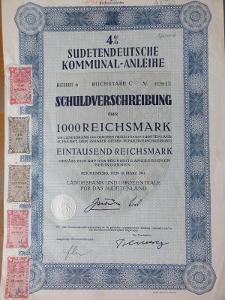 Sudetoněmecká komunální půjčka,dluhopis na 1000 RM, LIBEREC, 16.3.1941