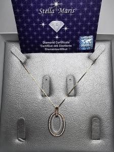 Pozlacený náhrdelník s přívěskem. Zirkony, diamanty (E-KS5993)