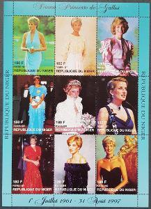 Niger 1997 Princezna Diana, 1ks tiskový list