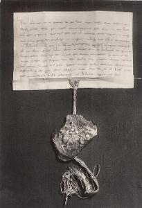Pohlednice zakládající listina města Litomyšle, čistá