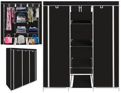 Dvojitá skříň na oblečení 166 x 125 x 43 cm černá + dárek