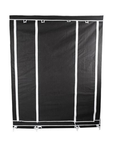 Dvojitá skříň na oblečení 175 cm × 135 cm × 44 cm černá + dárek