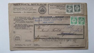 Protektorát - zpáteční lístek vyplacený služebními známkami