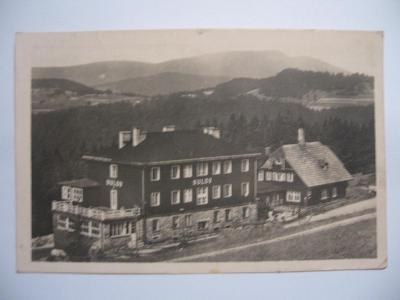 BESKYDY - Bílý kříž, turist. útulna u Daňků, hotel Sulov 1947