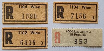 R-nálepky Rakousko a Švýcarsko /2  = 4 ks