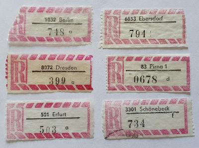 R-nálepky Německo DDR /3  = 6 ks