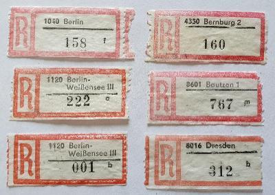 R-nálepky Německo DDR /4 = 6 ks