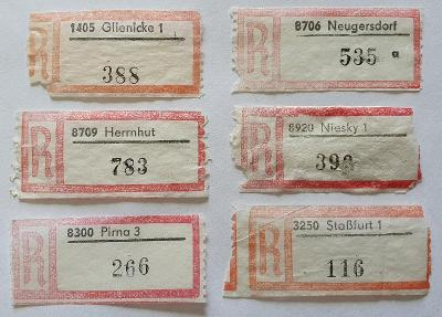 R-nálepky Německo DDR /5 = 6 ks