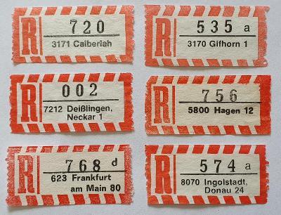 R-nálepky Německo BRD /7 = 6 ks