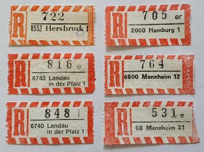 R-nálepky Německo BRD /8 = 6 ks