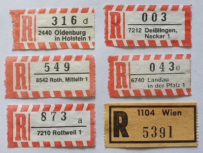 R-nálepky Německo BRD /9 = 6 ks