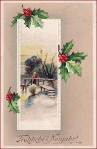 Nový rok * cesmína, zimní motiv, tlačená, gratulační * M3700