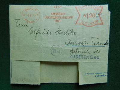 1945 - Dopis - Sudety -  Francotyp - Praha