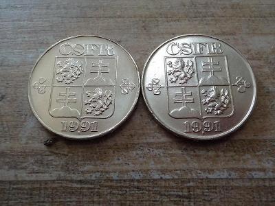 2 Kčs 1991 - LUXUSNÍ - obě mincovny!