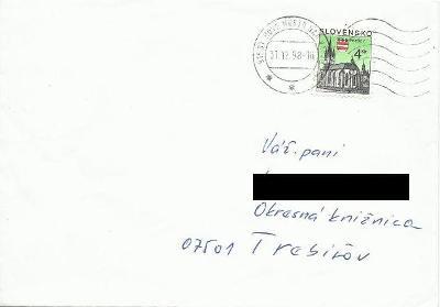 Slovensko, obálka malá, vyplaceno 4 Sk (datum 31.12.98)