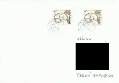 Slovensko, obálka malá, vyplaceno 2x 0,40 Euro